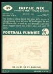 1960 Topps #39  Doyle Nix  Back Thumbnail