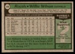1979 Topps #409  Willie Wilson  Back Thumbnail