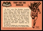 1966 Topps Batman Black Bat #45 BLK  Trap for the Riddler Back Thumbnail