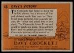 1956 Topps Davy Crockett #48 ORG  Davy's Victory  Back Thumbnail