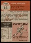 1953 Topps #14  Clem Labine  Back Thumbnail