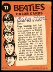 1964 Topps Beatles Color #11   George Harrison Back Thumbnail