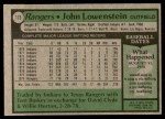 1979 Topps #173  John Lowenstein  Back Thumbnail