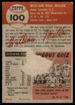 1953 Topps #100  Bill Miller  Back Thumbnail