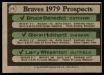 1979 Topps #715   -  Bruce Benedict / Glenn Hubbard / Larry Whisenton Braves Prospects   Back Thumbnail