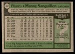 1979 Topps #447  Manny Sanguillen  Back Thumbnail