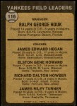 1973 Topps #116 BRN  -  Ralph Houk / Jim Hegan /  Elston Howard / Dick Howser / Jim Turner Yankees Leaders Back Thumbnail