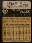 1973 Topps #310  Rich Allen  Back Thumbnail