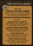 1973 Topps #356   -  Chuck Tanner / Joe Lonnett / Jim Mahoney / Alex Monchak / Johnny Sain White Sox Leaders Back Thumbnail