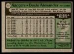1979 Topps #442  Doyle Alexander  Back Thumbnail