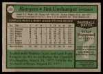 1979 Topps #518  Jim Umbarger  Back Thumbnail