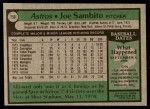 1979 Topps #158  Joe Sambito  Back Thumbnail