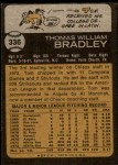 1973 Topps #336  Tom Bradley  Back Thumbnail