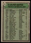 1979 Topps #659   Mariners Team Checklist Back Thumbnail