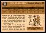 1960 Topps #30  Tito Francona  Back Thumbnail