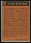 1972 Topps #345   -  Rick Wise Boyhood Photo Back Thumbnail