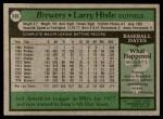 1979 Topps #180  Larry Hisle  Back Thumbnail
