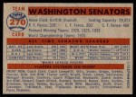 1957 Topps #270   Senators Team Back Thumbnail