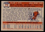 1957 Topps #72  Bill Tuttle  Back Thumbnail
