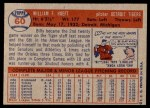 1957 Topps #60  Billy Hoeft  Back Thumbnail