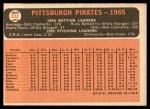 1966 Topps #404 xDOT  Pirates Team Back Thumbnail