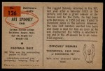1954 Bowman #126  Art Spinney  Back Thumbnail