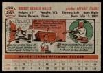 1956 Topps #263  Bob Miller  Back Thumbnail