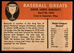 1961 Fleer #7  Dave Bancroft  Back Thumbnail
