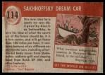 1954 Topps World on Wheels #114   Sakhnoffsky Dream Car Back Thumbnail