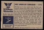 1954 Bowman U.S. Navy Victories #36   First American Submarine Back Thumbnail