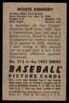 1952 Bowman #213  Monte Kennedy  Back Thumbnail