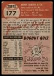 1953 Topps #177  Jim Dyck  Back Thumbnail