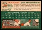 1954 Topps #118  Carl Scheib  Back Thumbnail