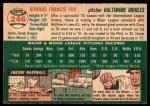 1954 Topps #246  Howard Fox  Back Thumbnail