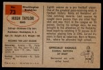 1954 Bowman #73  Hugh Taylor  Back Thumbnail