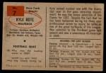 1954 Bowman #7  Kyle Rote  Back Thumbnail