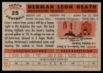 1956 Topps #25  Leon Heath  Back Thumbnail