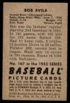 1952 Bowman #167  Bobby Avila  Back Thumbnail