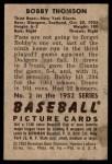 1952 Bowman #2  Bobby Thomson  Back Thumbnail