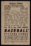 1952 Bowman #20  Willie Jones  Back Thumbnail