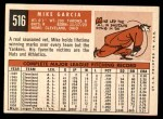 1959 Topps #516  Mike Garcia  Back Thumbnail