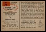1954 Bowman #74  Warren Lahr  Back Thumbnail