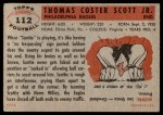1956 Topps #112  Tom Scott  Back Thumbnail