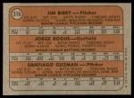 1972 Topps #316   -  Jim Bibby / Santiago Guzman / Jorge Roque Cardinals Rookies   Back Thumbnail