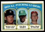 1972 Topps #94   -  Vida Blue / Mickey Lolich / Wilbur Wood AL Pitching Leaders   Front Thumbnail