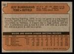 1972 Topps #191  Jeff Burroughs  Back Thumbnail
