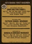 1973 Topps #605   -  Pat Bourque / Enos Cabell / Gonzalo Marquez Rookie First Baseman Back Thumbnail
