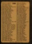 1973 Topps #338   Checklist 3 Back Thumbnail