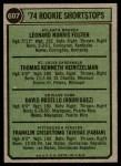 1974 Topps #607   -  Frank Taveras / Leo Foster / Tom Heintzelman / Dave Rosello Rookie Shortstops   Back Thumbnail