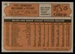 1972 Topps #140  Pat Dobson  Back Thumbnail